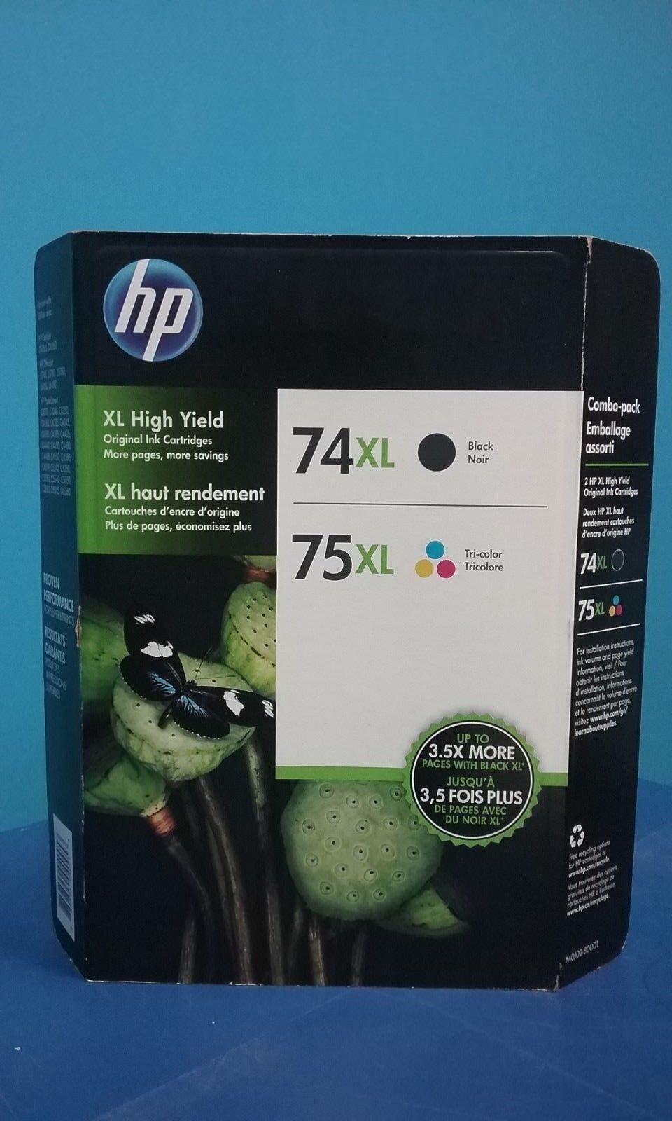 Genuine HP 74XL/75XL High Yield Black/Tri-color ink  Cartridges,M0J02BN,Multi-PK